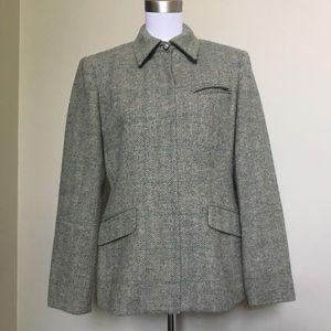 Vintage RALPH LAUREN teal Tweed plaid jacket 8